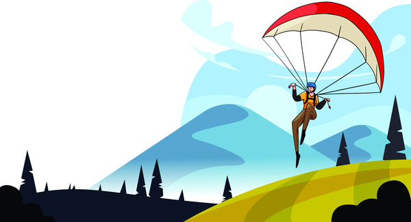 Parachuting in nature