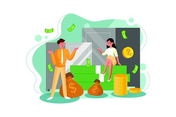 Business couple money