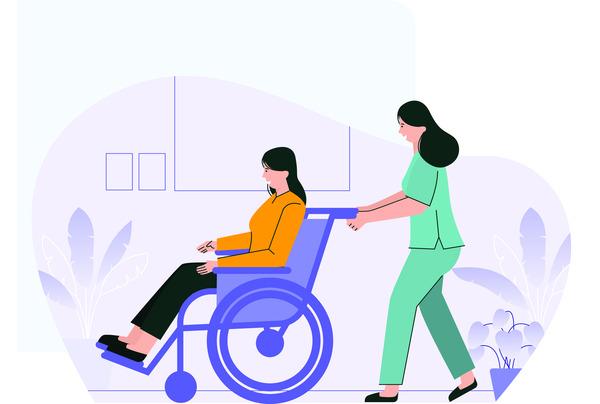 Nurse helps a patient
