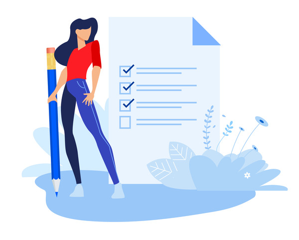 Business person with checklist