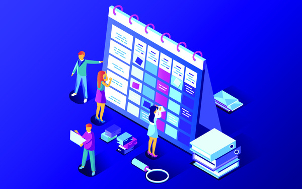 Planning schedule isometric illustration