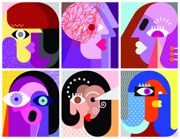 Six abstract faces