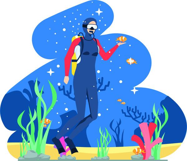 Diving in the ocean