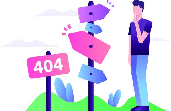 Lost person 404 illustration