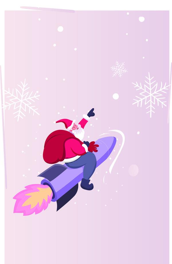 Santa Claus on a rocket