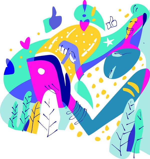 Social media user illustration