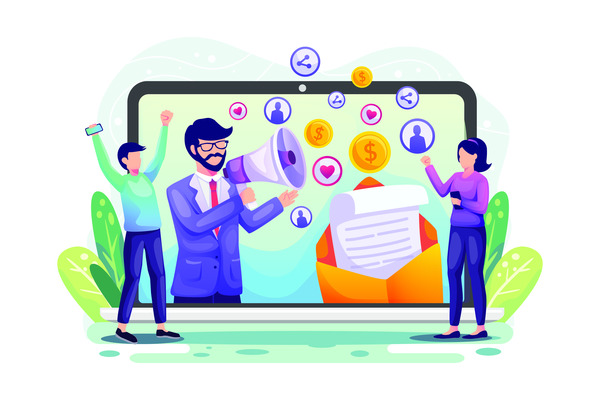 Online referral marketing team