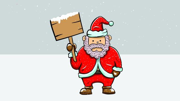 Santa Claus showing a sign