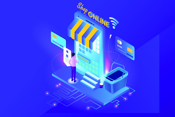 Isometric online store illustration