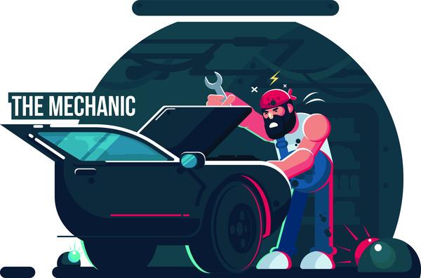 Mechanic worker cartoon