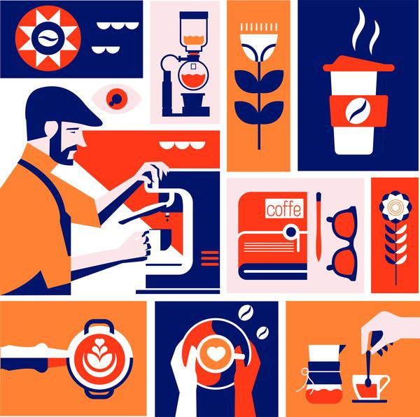 Coffee illustration mural
