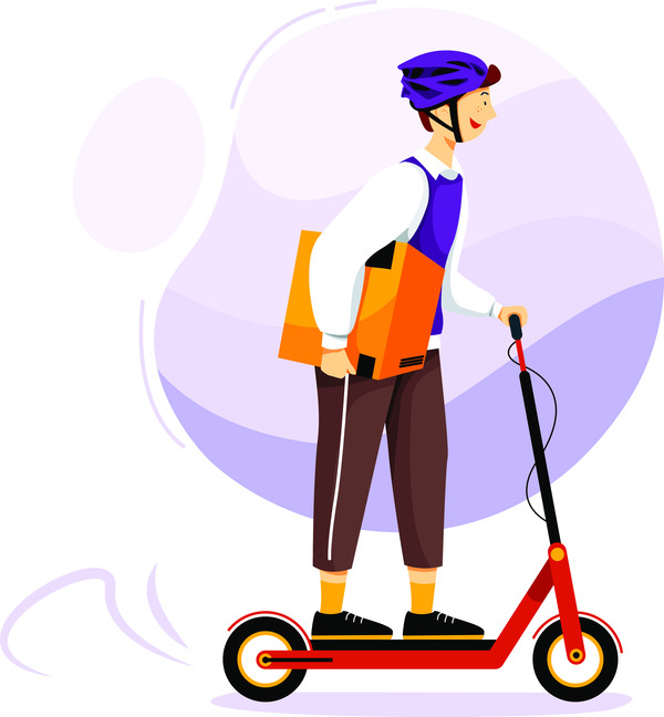 Delivery on scooter