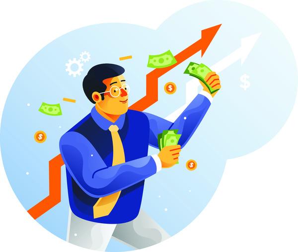 Enterpreneur holding money