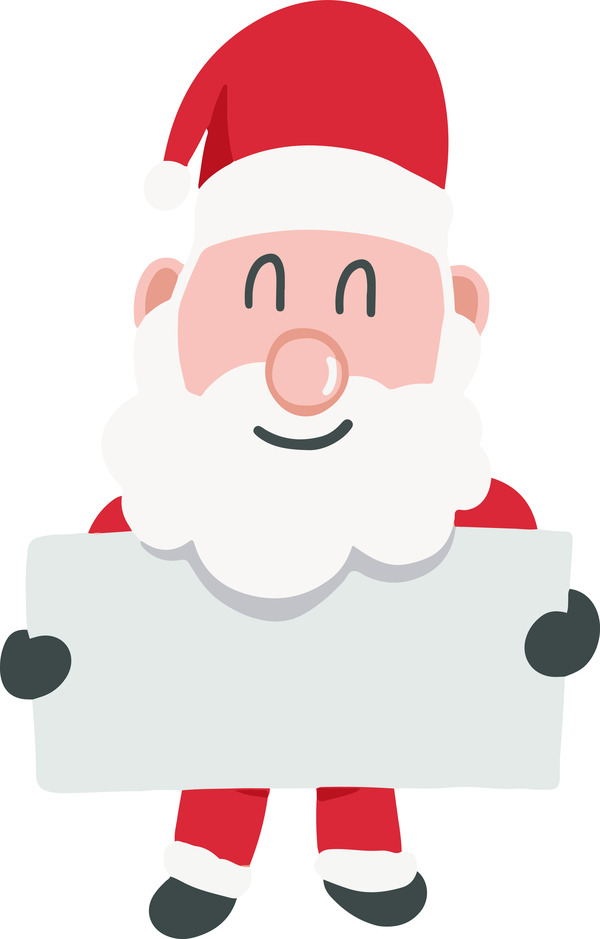 Santa Claus holding sign