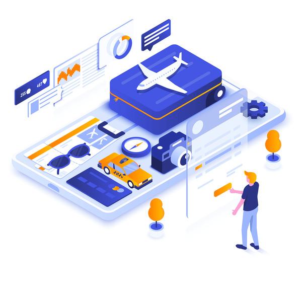 Isometric travel app illustration