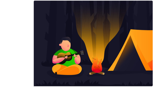 Man camping at night