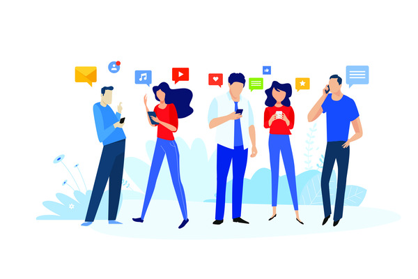 People and social media concept