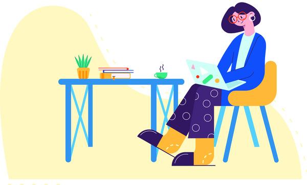 Freelancer doing home office