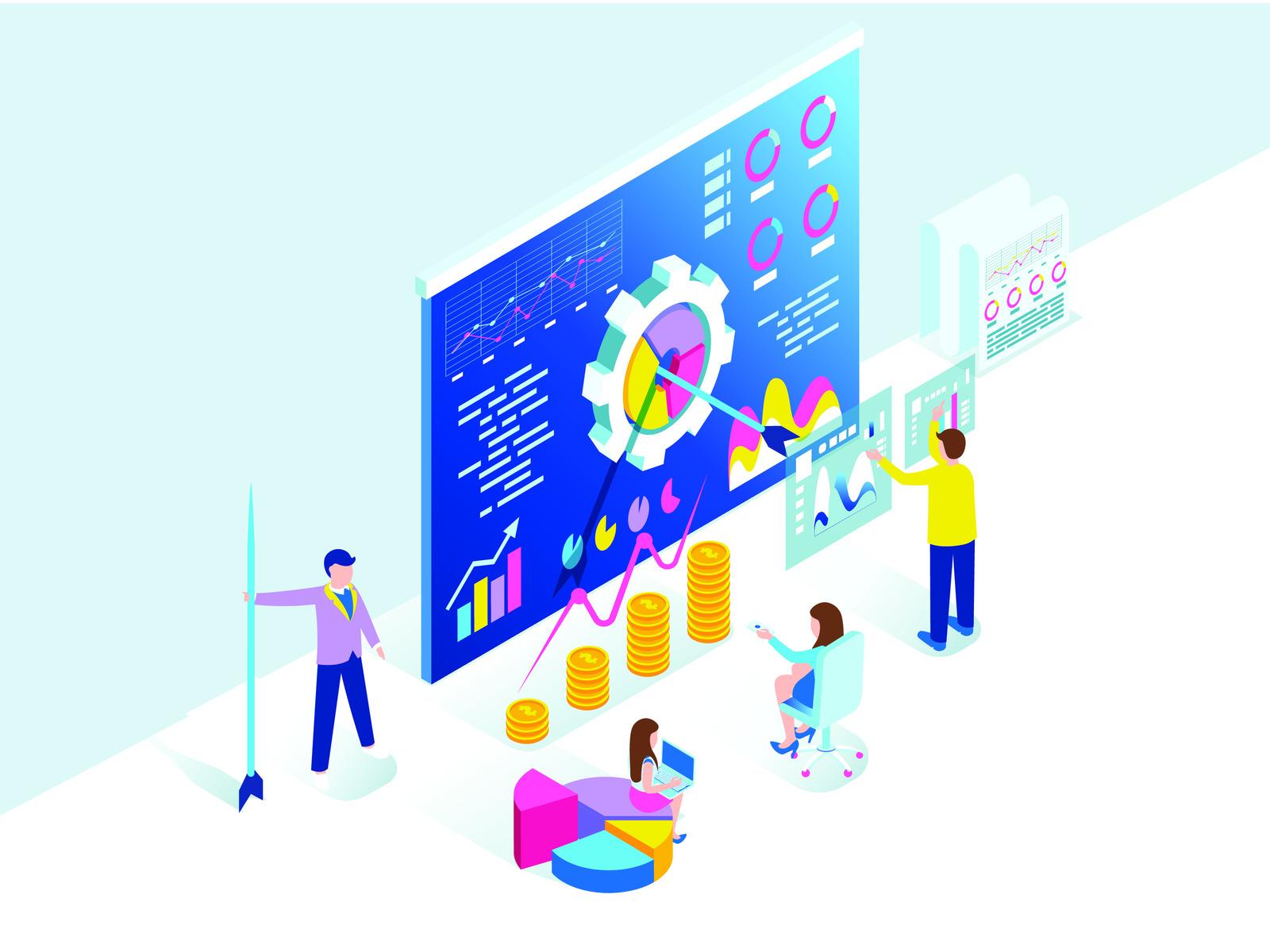 Isometric marketing agency elements